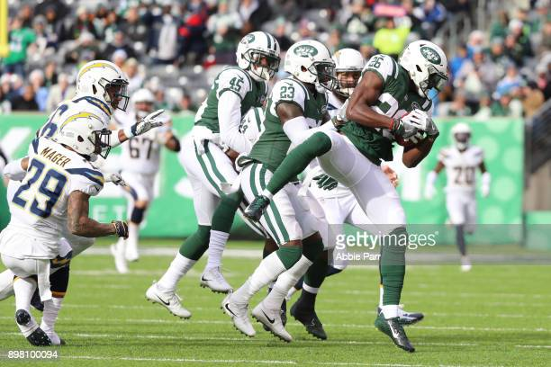 Marcus Maye of the New York Jets recovers an onside kick on the opening play of the game against the Los Angeles Chargers during the first half of an...