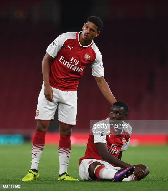 Marcus McGuane and Eddie Nketiah of Arsenal during the match between Arsenal U23 and Manchester City U23 at Emirates Stadium on August 21 2017 in...