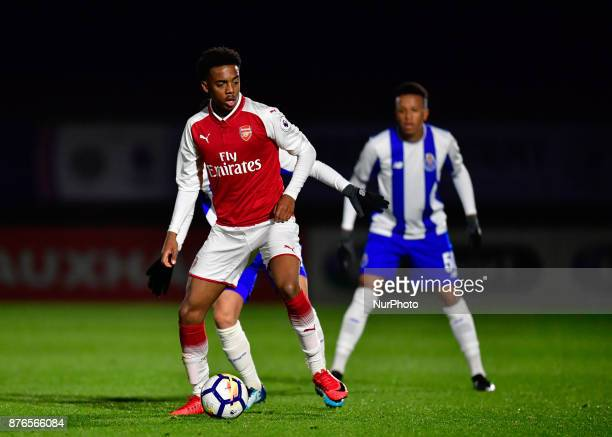 Marcus McGuane of Arsenal U23s during Premier League International Cup Group E match between Arsenal Under 23s vs FC Porto Under 23s at Borehamwood...