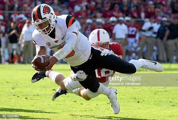 Marcus McMaryion of the Oregon State Beavers dives to the endzone for a touchdown against the Stanford Cardinal during the fourth quarter of their...