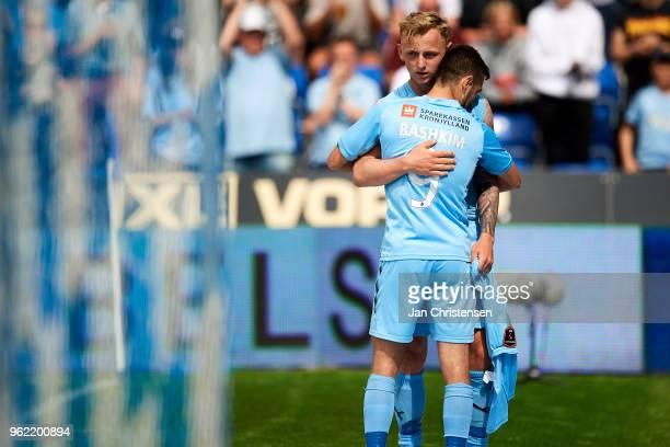 Marcus Molvadgaard of Randers FC and Bashkim Kadrii of Randers FC celebrating his 20 goal during the Danish Alka Superliga match between Randers FC...