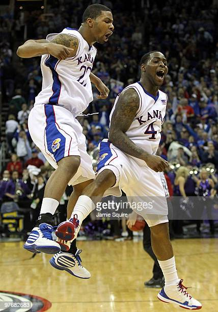 Marcus Morris and Sherron Collins of the Kansas Jayhawks celebrate at the buzzer as the Jayhawks defeated the Kansas State Wildcats to win the 2010...