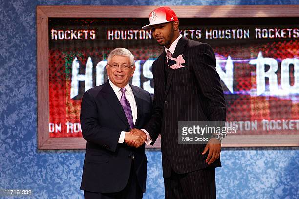 Marcus Morris from the Kansas Jayhawks greets NBA Commissioner David Stern after he was selected overall by the Houston Rockets during the 2011 NBA...