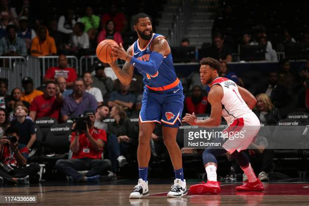 Marcus Morris of New York Knicks handles the ball against the Washington Wizards during preseason on October 7 2019 at Capital One Arena in...