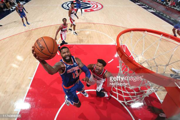 Marcus Morris of New York Knicks shoots the ball against the Washington Wizards during preseason on October 7 2019 at Capital One Arena in Washington...