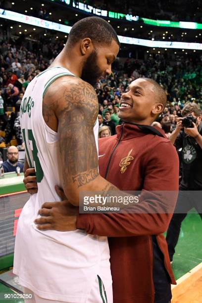 Marcus Morris of the Boston Celtics and Isaiah Thomas of the Cleveland Cavaliers after the game on January 3 2018 at the TD Garden in Boston...