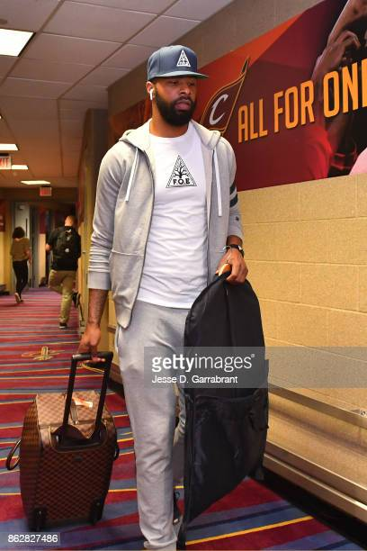 Marcus Morris of the Boston Celtics arrives at the arena before the game against Cleveland Cavaliers on October 17 2017 at Quicken Loans Arena in...