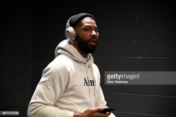 Marcus Morris of the Boston Celtics arrives at the arena before the game against the Milwaukee Bucks on December 4 2017 at the TD Garden in Boston...