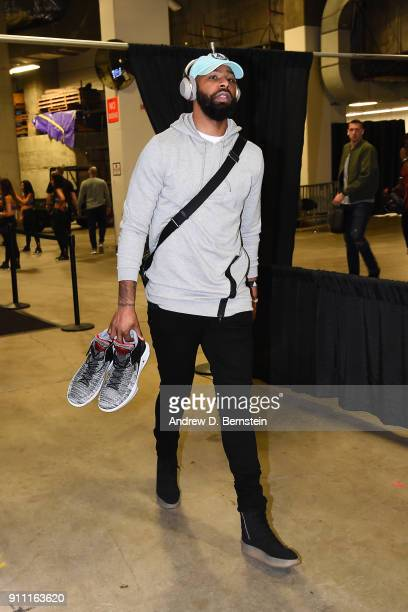 Marcus Morris of the Boston Celtics arrives at the stadium before the game against the Golden State Warriors on January 27 2018 at ORACLE Arena in...