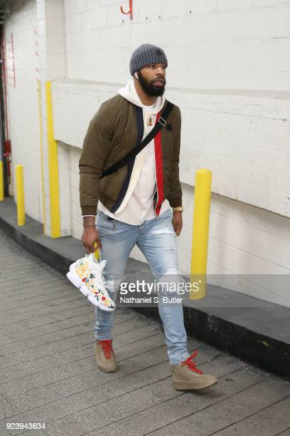Marcus Morris of the Boston Celtics arrives before the game against the New York Knicks on February 24 2018 at Madison Square Garden in New York New...