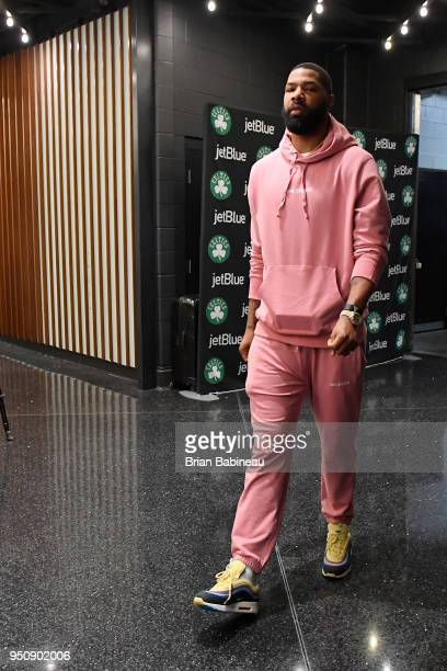 Marcus Morris of the Boston Celtics arrives to the arena prior to Game Five of Round One of the 2018 NBA Playoffs against the Milwaukee Bucks on...