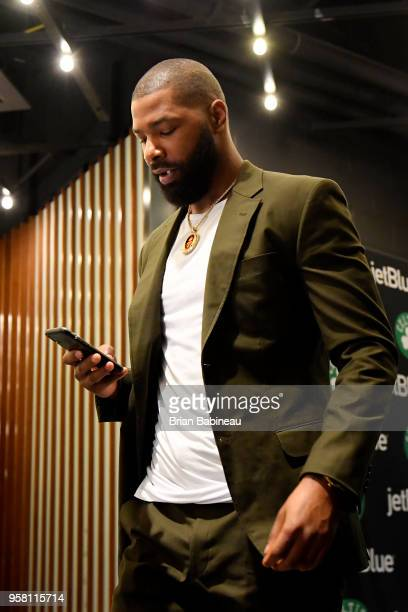 Marcus Morris of the Boston Celtics arrives to the arena prior to Game One of the Eastern Conference Finals of the 2018 NBA Playoffs against the...