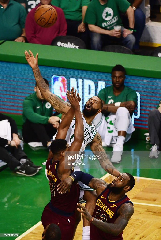 Marcus Morris #13 of the Boston Celtics battles for the ball in the first half against the Cleveland Cavaliers during Game Two of the 2018 NBA Eastern Conference Finals at TD Garden on May 15, 2018 in Boston, Massachusetts.