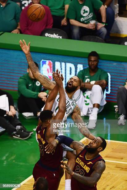 Marcus Morris of the Boston Celtics battles for the ball in the first half against the Cleveland Cavaliers during Game Two of the 2018 NBA Eastern...