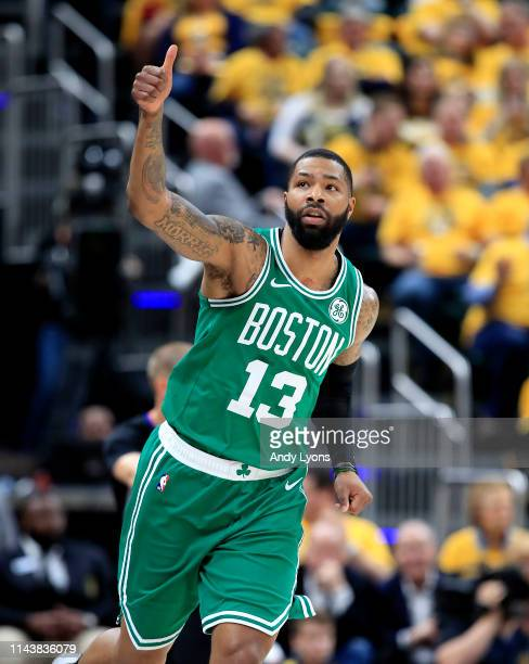 Marcus Morris of the Boston Celtics celebrates after making a three point shot against the Indiana Pacers in game three of the first round of the...