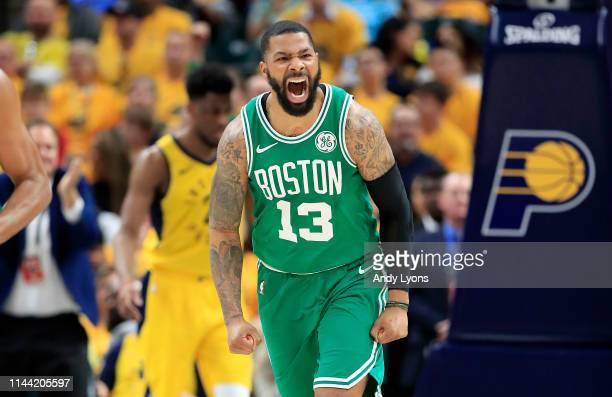 Marcus Morris of the Boston Celtics celebrates against the Indiana Pacers in game four of the first round of the 2019 NBA Playoffs at Bankers Life...