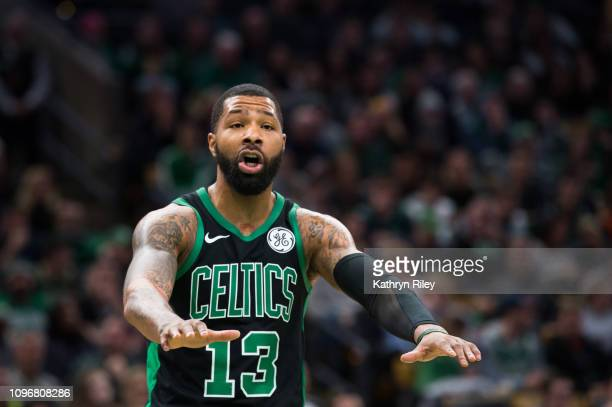 Marcus Morris of the Boston Celtics disputes a call while playing against the Los Angeles Clippers at TD Garden on February 9 2019 in Boston...