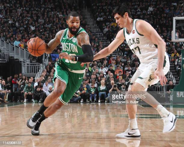 Marcus Morris of the Boston Celtics drives to the basket against the Milwaukee Bucks during Game Five of the Eastern Conference Semifinals of the...