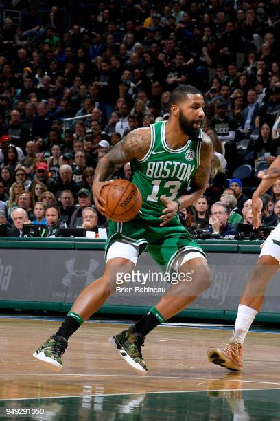 Marcus Morris of the Boston Celtics drives to the basket against the Milwaukee Bucks in Game Three of Round One of the 2018 NBA Playoffs on April 20...
