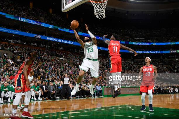 Marcus Morris of the Boston Celtics dunks against the New Orleans Pelicans on January 16 2018 at the TD Garden in Boston Massachusetts NOTE TO USER...