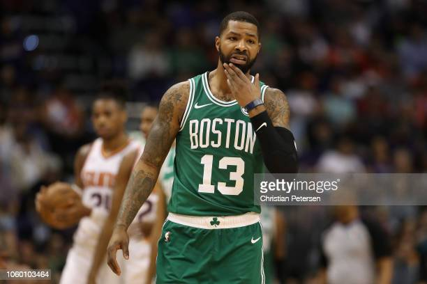 Marcus Morris of the Boston Celtics during the NBA game against the Phoenix Suns at Talking Stick Resort Arena on November 8 2018 in Phoenix Arizona...