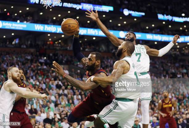 Marcus Morris of the Boston Celtics fouls LeBron James of the Cleveland Cavaliers in the first half during Game Two of the 2018 NBA Eastern...