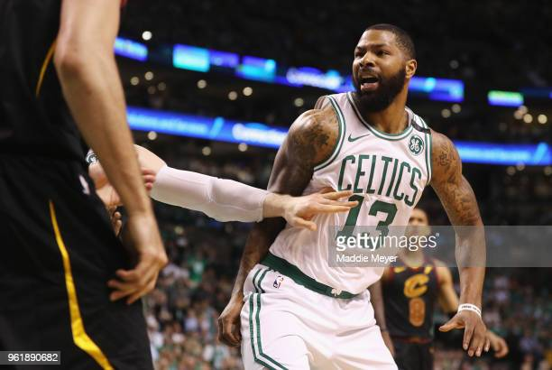 Marcus Morris of the Boston Celtics gets into an altercation with Larry Nance Jr #22 of the Cleveland Cavaliers in the first half during Game Five of...