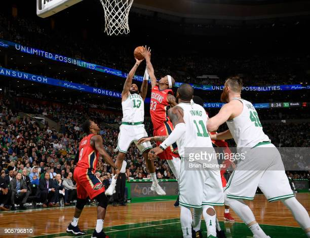 Marcus Morris of the Boston Celtics goes to the basket against the New Orleans Pelicans on January 16 2018 at the TD Garden in Boston Massachusetts...