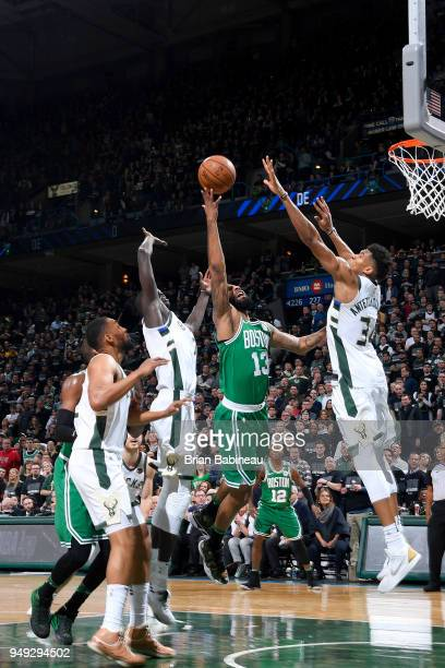 Marcus Morris of the Boston Celtics goes to the basket against the Milwaukee Bucks in Game Three of Round One of the 2018 NBA Playoffs on April 20...