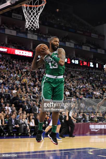 Marcus Morris of the Boston Celtics grabs the rebound against the Philadelphia 76ers as a part of the 2018 NBA London Game at the 02 Arena on January...