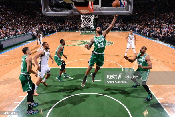 Marcus Morris of the Boston Celtics grabs the rebound against the Milwaukee Bucks in Game Three of Round One of the 2018 NBA Playoffs on April 20...