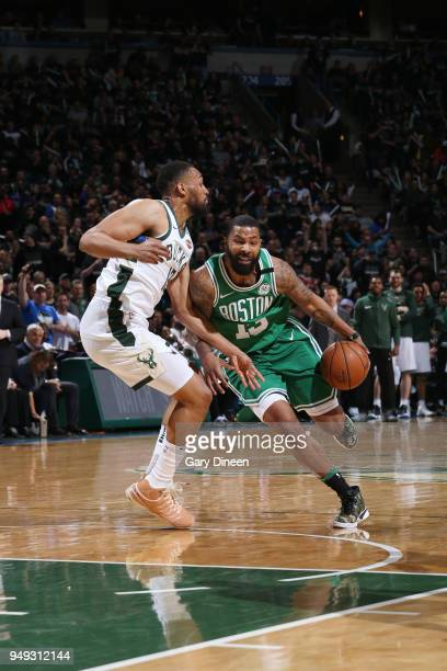 Marcus Morris of the Boston Celtics handles the ball against the Milwaukee Bucks in Game Three of Round One of the 2018 NBA Playoffs on April 20 2018...