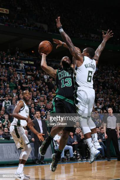 Marcus Morris of the Boston Celtics handles the ball against the Milwaukee Bucks in Game Four of Round One of the 2018 NBA Playoffs on April 22 2018...