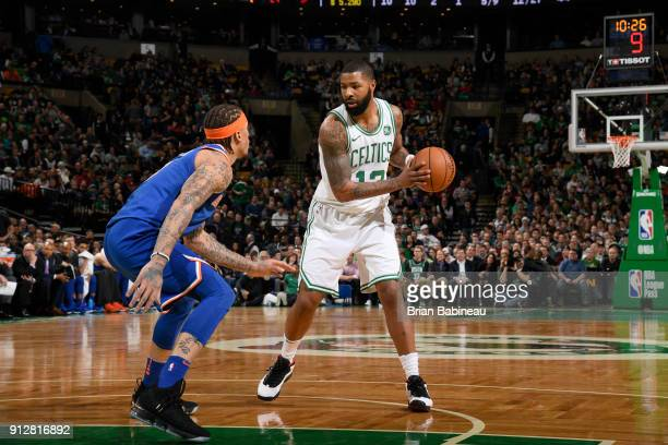 Marcus Morris of the Boston Celtics handles the ball against the New York Knicks on January 31 2018 at the TD Garden in Boston Massachusetts NOTE TO...