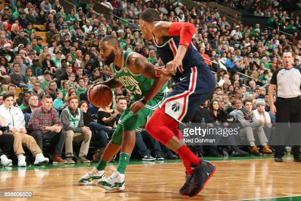 Marcus Morris of the Boston Celtics handles the ball against the Washington Wizards on December 25 2017 at the TD Garden in Boston Massachusetts NOTE...