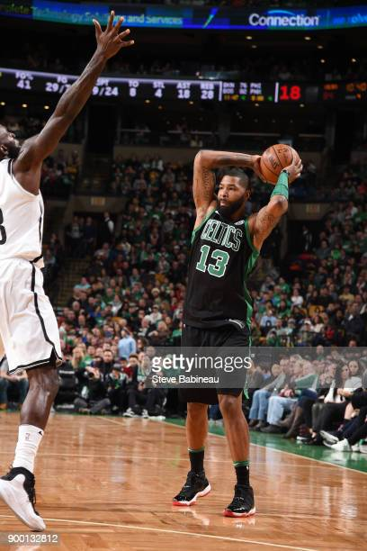 Marcus Morris of the Boston Celtics handles the ball against the Brooklyn Nets on December 31 2017 at TD Garden in Boston Massachusetts NOTE TO USER...