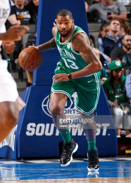 Marcus Morris of the Boston Celtics handles the ball during the game against the Dallas Mavericks on November 20 2017 at the American Airlines Center...