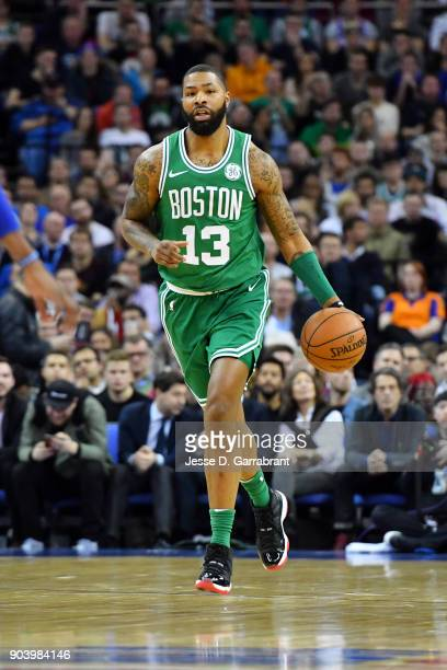 Marcus Morris of the Boston Celtics handles the ball during the game against the Philadelphia 76ers on January 11 2018 at The O2 Arena in London...