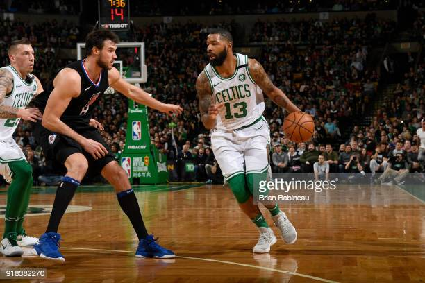 Marcus Morris of the Boston Celtics handles the ball during the game against the LA Clippers on February 14 2018 at the TD Garden in Boston...