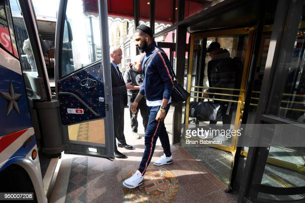 Marcus Morris of the Boston Celtics heads to game against the Milwaukee Bucks in Game Four of Round One of the 2018 NBA Playoffs on April 22 2018 at...