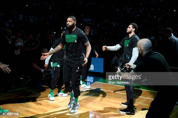 Marcus Morris of the Boston Celtics is introduced prior to them game against the Cleveland Cavaliers on February 11 2018 at the TD Garden in Boston...