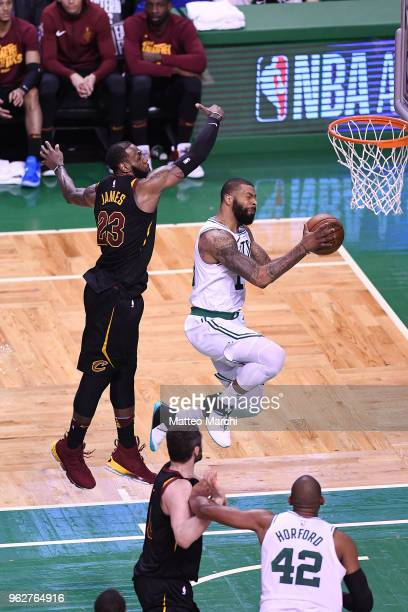 Marcus Morris of the Boston Celtics lays up a shot against LeBron James of the Cleveland Cavaliers during Game Five of the 2018 NBA Eastern...