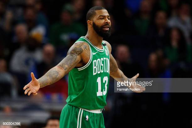 Marcus Morris of the Boston Celtics looks on during the game against the Minnesota Timberwolves on March 8 2018 at the Target Center in Minneapolis...