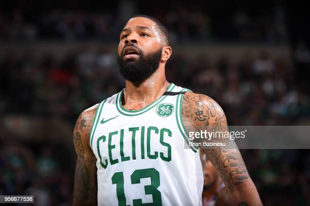 Marcus Morris of the Boston Celtics looks on during the game against the Philadelphia 76ers in Game Five of the Eastern Conference Semifinals of the...