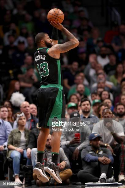 Marcus Morris of the Boston Celtics puts up a shot against the Denver Nuggets at the Pepsi Center on January 29 2018 in Denver Colorado NOTE TO USER...