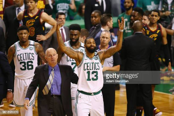 Marcus Morris of the Boston Celtics reacts after getting into an altercation with Larry Nance Jr #22 of the Cleveland Cavaliers in the first half...