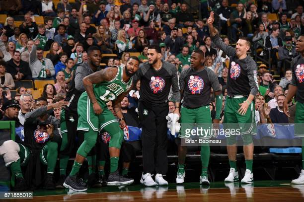 Marcus Morris of the Boston Celtics reacts against the Los Angeles Lakers on November 8 2017 at the TD Garden in Boston Massachusetts NOTE TO USER...