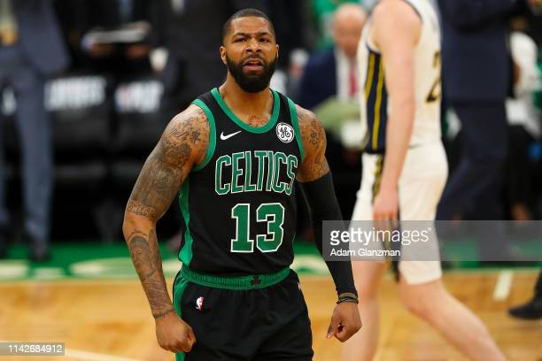 Marcus Morris of the Boston Celtics reacts during Game One of the first round of the 2019 NBA Eastern Conference Playoffs against the Indiana Pacers...