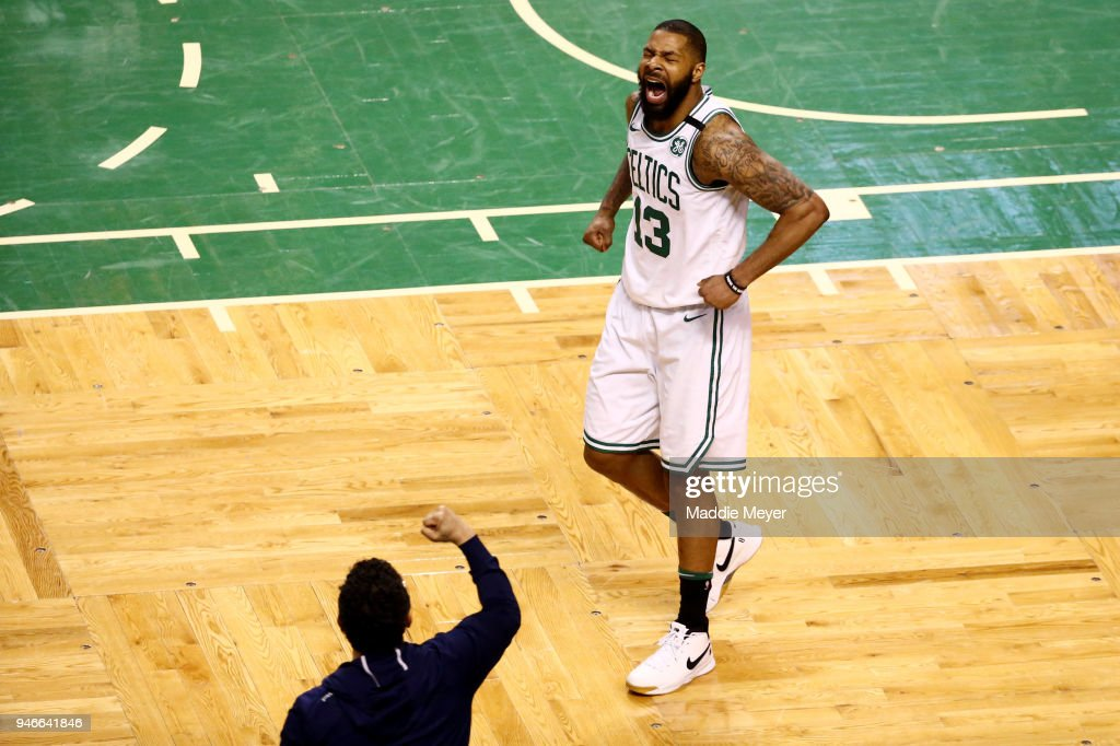 Marcus Morris #13 of the Boston Celtics reacts during the fourth quarter of Game One of Round One of the 2018 NBA Playoffs against the Milwaukee Bucks during at TD Garden on April 15, 2018 in Boston, Massachusetts.