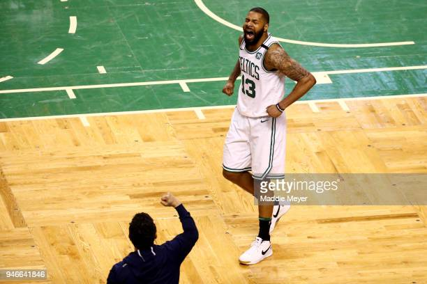 Marcus Morris of the Boston Celtics reacts during the fourth quarter of Game One of Round One of the 2018 NBA Playoffs against the Milwaukee Bucks...